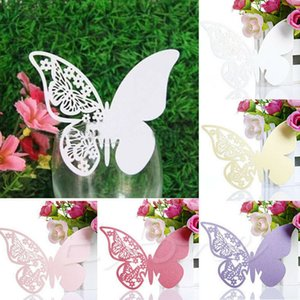 Wholesale 50PCS Butterfly Shape Place Card Wedding Birthday Party Seating Table Place Card Wine Glass Table Decor Party Favor