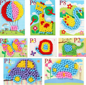 Baby Kids Creative DIY Animal Plush Ball Painting Stickers Children Educational Handmade Material Cartoon Puzzles Crafts Toy C2