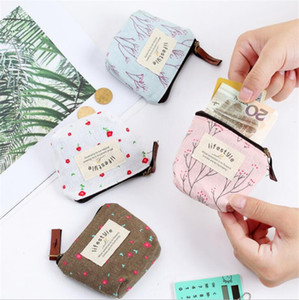 Wholesale Colorful canvas coin purse fresh garden wind change pocket coin key small wallet organizer holder wallets cosmetic bag