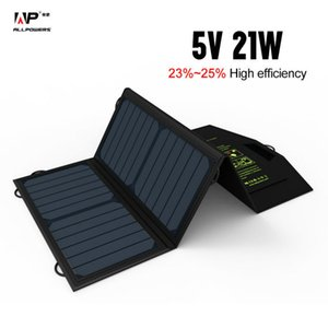 Wholesale Allpowers v21w Portable Solar Charge Dual Usb Output Mobile Phone Charger For Iphone Samsung Huawei Smartphone J190427