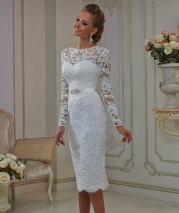2019 Elegant Knee Length Long Sleeve Wedding Dresses Sheer Neck Crystal Sash Bridal Gowns Lace Appliques Short Wedding Gowns Custom Made on Sale