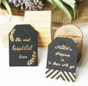 Wholesale Gold Stamping Gift Paper Tag Gold Leaves Black Paper Hang Tag Label for Gift Box Paper Bag Packing Clothing Garment Tags