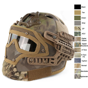 Wholesale Outdoor Sport Airsoft Paintabll Shooting Adjustable Head Locking Strap Suspension System PJ Fast Tactical Airsoft Helmet with Mask