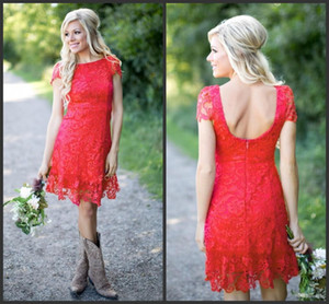 Wholesale 2019 New Red Full Lace Short Knee Length Bridesmaid Dresses Cheap Country Style Crew Neck Cap Sleeves Mini Backless Bridesmaids Dresses