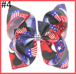 Wholesale big th of july hair bows Independence Day big hair bows red white and blue big clips for girl patriotic day hair