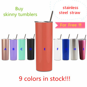 Wholesale SALE oz stainless steel skinny tumbler steel straw oz tall skinny cup with slid lid vacuum insulated tumblers Coffee mug custom logo