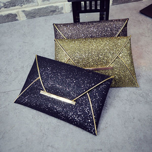 Wholesale Simple Fashion Women Envelope Clutch Bag Solid Color Leather Glitter Purse Party Delicate Handbag Ladies Wedding Bags FA B