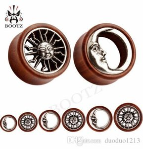 Wholesale 54pcs hot sale New wood metal plugs sun and moon logo matched plugs ear tunnel piercing body jewelry stretchers