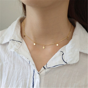 Authentic 925 Sterling Silver Collar Choker Necklaces Women Simple Tiny Round Circle Pendants Necklace Collares Fine Jewelry Chokers on Sale