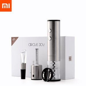 4in1 Xiaomi Mijia Circle Joy Automatic Red Wine Bottle Opener Round Wine Stopper Stainless Steel Electric Corkscrew Gift