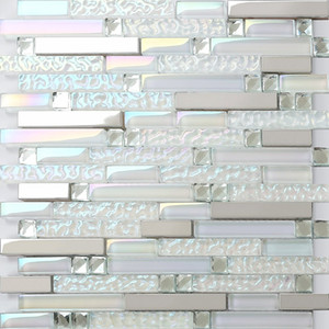 Glass mosaic kitchen tile backsplash bathroom shower wall tiles SSMT399 silver metal stainless steel mosaic