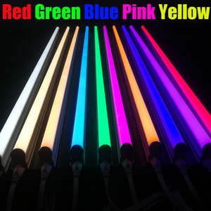 Wholesale Double Row Colorful Red Green Blue Yellow T8 LED Tube Lights Frosted Milky Cover Ft Ft Ft Ft Ft Ft Colorful led Bar Lights