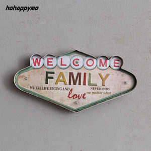 Welcome Family Light Sign Decorative Painting Metal Plaque Bar Wall Decor Painting Illuminated Plate Arcade Neon Led Signs Y19061804