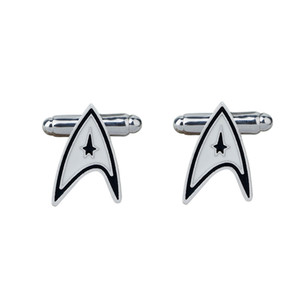 Wholesale pin cufflinks set for sale - Group buy JEWELRYGIFT Movie Jewelry Star Movie Cufflinks Punk Style Star Trek Badge Pins Cufflinks Novelty Men s Shirt Suit Accessories
