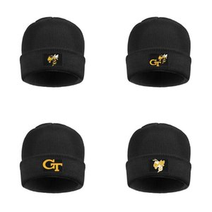 GA Tech Yellow Jackets football logo Men Womens Fleece Lined Wool Cap Knit Caps Unisex Football Gray Camouflage
