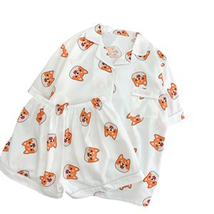 Wholesale Summer Lovers Pajamas Sets Bear Printed Harajuku Shiba Cute Doge Men Pijama Mujer Pyjamas Couple Cartoon Dogs Silk Sleepwear