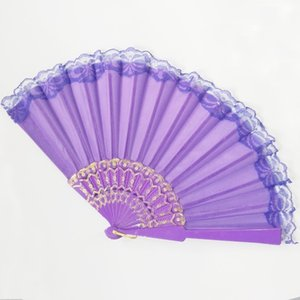 Wholesale Folding Fans Lace Chinese Style Dance Performance Wedding Hand Held Fans Party Decorative Props ZC1645