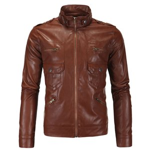 Wholesale free shipping New Men's European and American men's leather jacket British stand collar motorcycle leather m-4xl