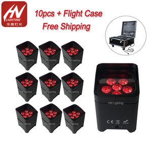 10pcs App control uplighting Hex 6*18W 6in1 RGABW UV LED Battery Projector LED Par Lights for wedding with Rain Cover on Sale