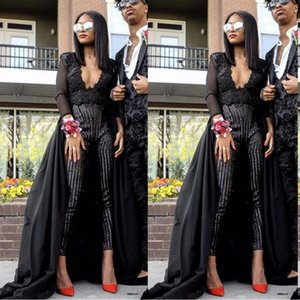 Wholesale 2019 Fashion Prom Dresses Sexy Jumpsuit Black Evening Wear Long Sleeves Sequins Beaded Prom Gowns With Detachable Train BC0537