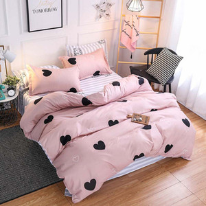 Wholesale 4Pcs Luxury Pink Lovely Bedding Set Children Cartoon Printing Duvet Cover Set Single Twin Full Queen King Sheets Pillowcases Bed Linings