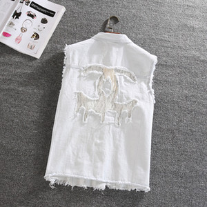 women loose hollow out lace vintage casual denim vest