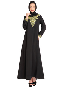 Wholesale Fashion Women Muslim Long Dress Embroidery Long Sleeve Abaya Kaftan Dress Islamic Arab Robe Elegant Maxi Black Coffee Blue
