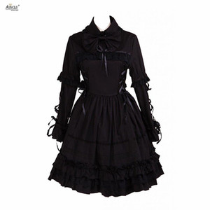 Wholesale Ainclu Lolita Dress Gothic Style Womens Black Cotton Gothic Long Sleeves Court Lolita Dress XS XXL Female Party Spring Autumn