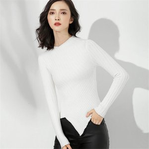 Wholesale Womens Sweaters Fall Fashion Skinny Elastic Turtleneck Solid Knit Sweater Female Irregular Hem Soft Pullover Winter A1752