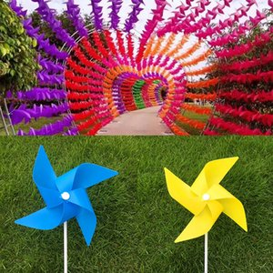 Wholesale Outdoor DIY Colorful Plastic Windmill Toys Pinwheel Self assembly Windmill Children s Toy Home Garden Yard Decor Outdoor Gifts