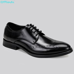 Wholesale QYFCIOUFU Italian Brogues Men Dress Shoes Genuine Leather High Quality Cow Leather Black Brown Wine Red Luxury Shoes Oxford