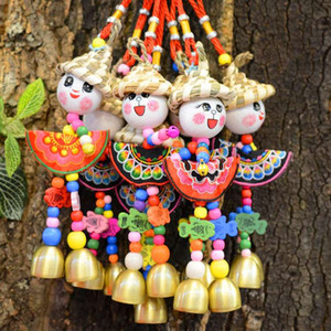 Wholesale Handicraft Folk custom Straw Hat Chime Doll Hanging Pendant For Home Decoration Christmas Gift Inch