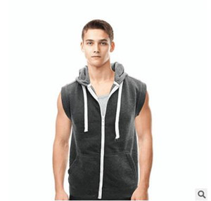 2019wish Men's Hat and vest Sleeveless Lightweight Zipper Gymnasium Exercise vest and waistcoat manufacturer direct sales on Sale