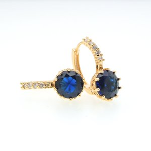 Wholesale Royal Blue Crystal Hoop Earrings Gold Circle Earings Jewellery Accessories Women Gifts Party Oorbellen Bijoux Femme Kupe E0815