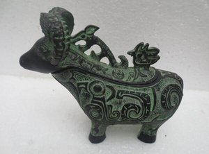 Wholesale Copper Brass craft Old Bronze sheep Jewelry Box Metal Crafts Antique home Decorative Arts Animal statue
