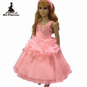 Free shipping 2019 New Style Child Ball Gown With Lace Appliques Peach Flower Girl Dresses For Weddings Kids Party Dress Organza