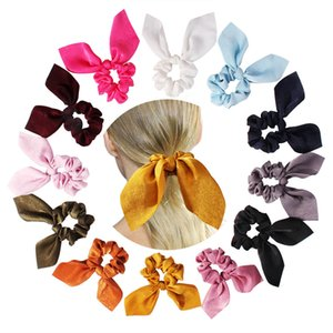 Wholesale 15 style Satin bow Elastic Hair Scrunchies Scrunchy Hairbands Head Band Ponytail Holder Girls Rabbit Ear Rubber Headband Hair Accessories L
