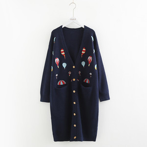 Wholesale mori girl Heavy duty color hot air balloon embroidery long Cardigan sweater