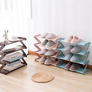 Wholesale multipurpose four layers shoe rack simple stainless steel plastic assembled oxford cloth shoe holder dormitory three layer shoe storage rack