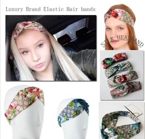 Wholesale women luxury designer scarfs silk G Style Silk Cross Headband Women Girl Elastic Hair bands Retro Turban Headwraps Gifts Flowers women