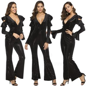 Wholesale 2019 Women Jumpsuits Rompers Off the shoulder jumpsuits Sexy black Deep v neck sequins Flared sleeve jumpsuit loose straight leg pants