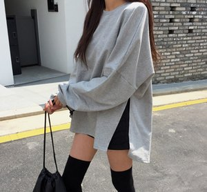 Korea Chic Soft Solid Loose Shirt Casual Oversize Split Pullover Warm Sweet Autumn Fresh Women Female Sweatshirt on Sale