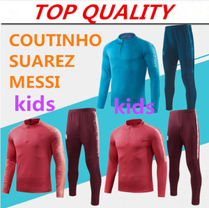 Wholesale kids long sleeve tracksuit MESSI Training suit survetement jacket SUAREZ COUTINHO Training suit Children boys football chandal