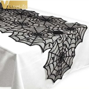 Wholesale Polyester X72inch Halloween Spider Web Table Runner Black Lace Tablecloth Halloween Table Decor Festival Party Supplies Easter