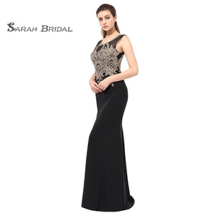 Wholesale Mermaid Lace Beaded Black Prom Party Dresses 2019 Sexy Elegant Vestidos De Festa Evening Occasion Sleeveless Gown LX360