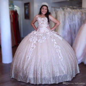 Wholesale Sweet Sparkly Ball Gown Quinceanera Dresses Sweetheart Appliques Handmade Flowers Big Bow Back Long Evening Prom Gowns Pageant Dress