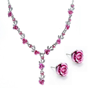 Bridal Jewelry High-end Simple Fashion Ladies Pendant Girls Long Rose Chain Necklaces with Earrings for Women