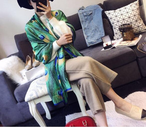 Wholesale 2019 new European and American fashion versatile scarf color feather high grade soft imitation silk sunscreen scarf shawl