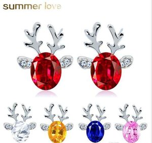 Wholesale christmas earrings resale online - Crystal Earrings Three Dimensional Christmas Reindeer Earring Kids Christmas Gifts Cute Stud Earring Red Pink White Colors Jewelry