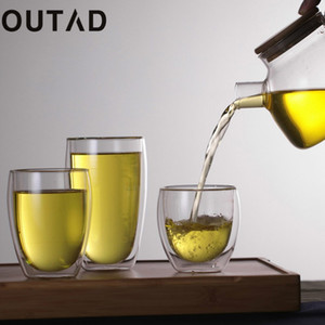 Wholesale OUTAD ml ml ml Double Layer Wall Clear Glass Cup Bamboo Lid heat resistant Coffee Milk Thermal Insulation Mug